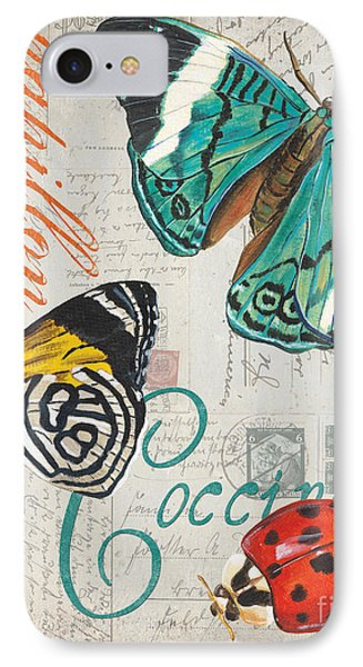 Grey Postcard Butterflies 2 IPhone Case by Debbie DeWitt