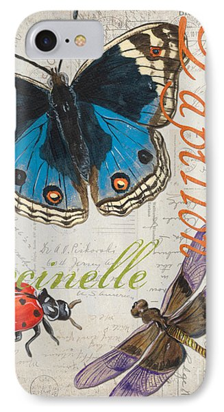 Grey Postcard Butterflies 4 IPhone 7 Case by Debbie DeWitt