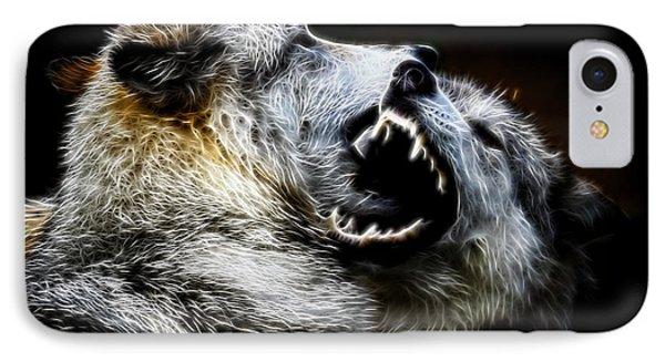 Grey Wolf Fight IPhone Case by Steve McKinzie