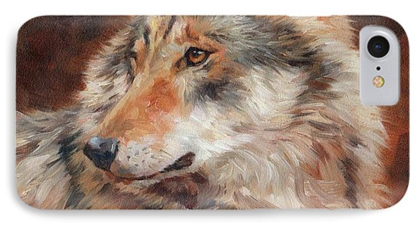 Grey Wolf Portrait IPhone Case by David Stribbling