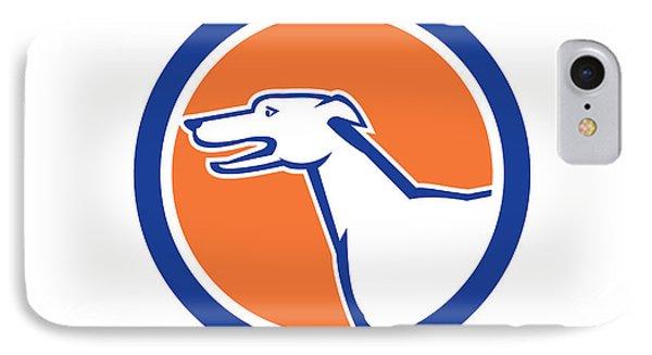 Greyhound Dog Head Side Retro Circle Phone Case by Aloysius Patrimonio