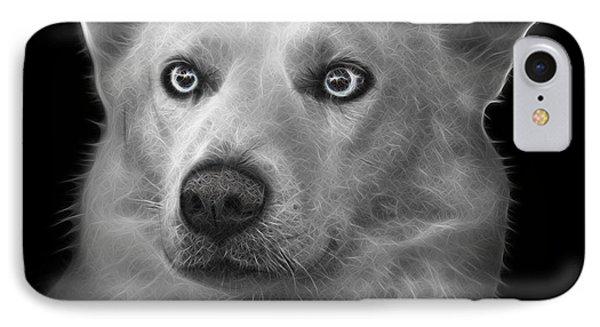 Greyscale Mila - Siberian Husky - 2103 - Bb IPhone Case by James Ahn