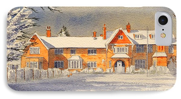 Griffin House School - Snowy Day IPhone Case by Bill Holkham