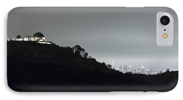 Griffith Park Observatory And Los Angeles Skyline At Night IPhone Case