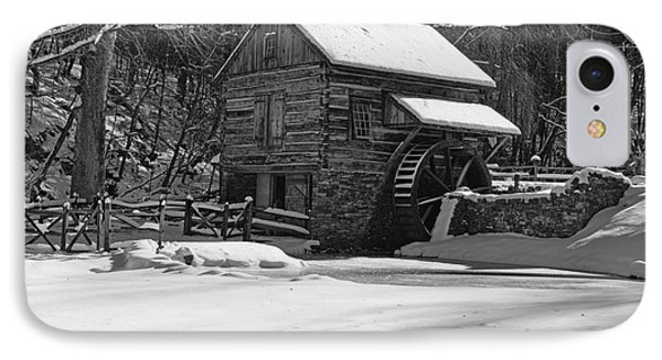 Grist Mill Winter In Black And White IPhone Case by Paul Ward