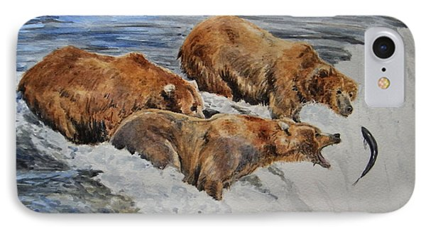 Grizzlies Fishing IPhone 7 Case by Juan  Bosco