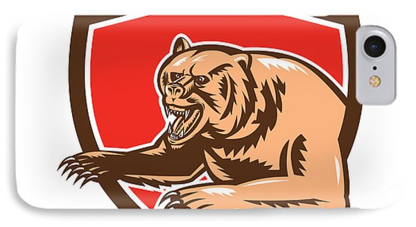 Grizzly Bear Angry Shield Retro IPhone Case