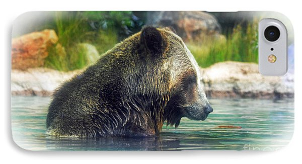 Grizzly Bear Enjoying A Dip In The Water Fade To White Version IPhone Case by Jim Fitzpatrick