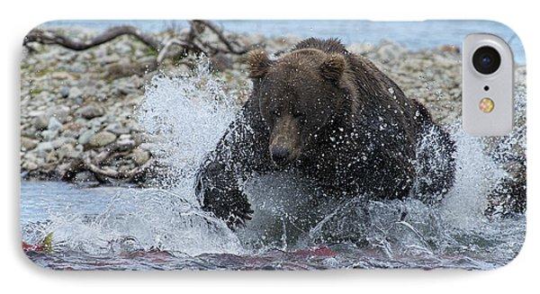 Brown Bear Pouncing On Salmon Phone Case by Dan Friend