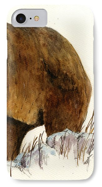 Grizzly Bear iPhone 7 Case - Grizzly Bear Second Part by Juan  Bosco