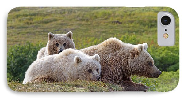 Grizzly Bear With Young IPhone Case by M. Watson