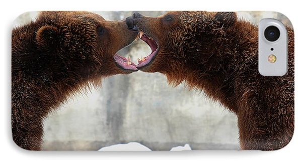 IPhone Case featuring the photograph Grizzly Bears Facing Off by Jerome Lynch