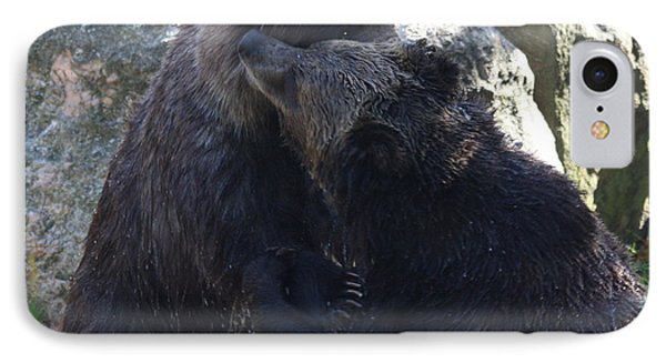 IPhone Case featuring the photograph Grizzly Bears Fighting by John Telfer