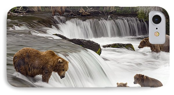 Grizzly Bears Fish At Brooks Falls In IPhone Case by Chris Miller