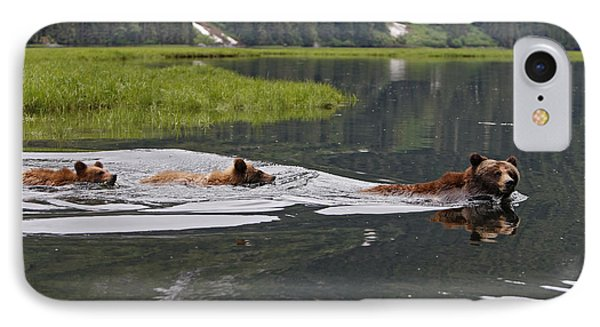 Grizzly Bears Swimming IPhone Case by M. Watson