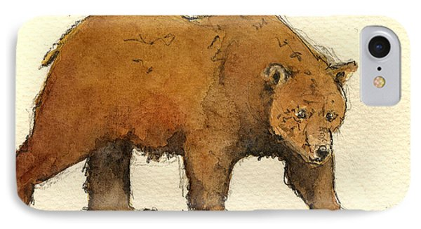 Grizzly Bear iPhone 7 Case - Grizzly Brown Big Bear by Juan  Bosco