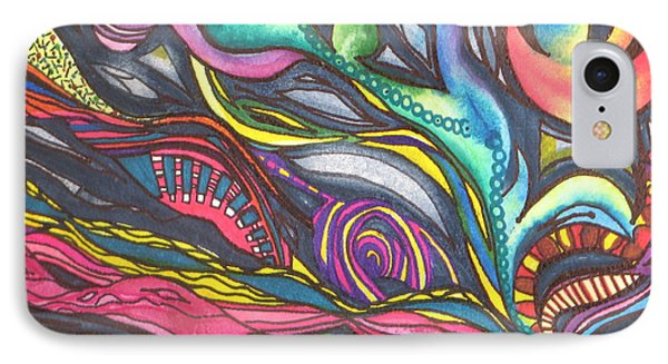 IPhone Case featuring the painting Groovy Series Titled Thoughts by Chrisann Ellis