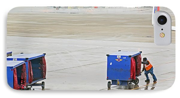 Ground Crew Worker At Chicago Airport IPhone Case by Jim West