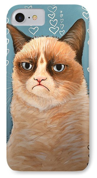 Grumpy Cat Art ... Love You IPhone Case by Amy Giacomelli
