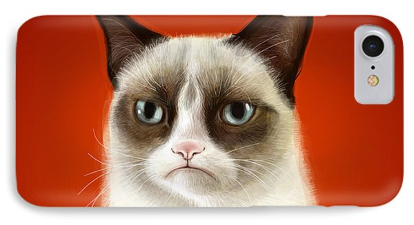 Cat iPhone 7 Case - Grumpy Cat by Olga Shvartsur