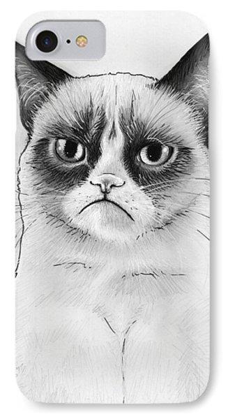 Grumpy Cat Portrait IPhone 7 Case by Olga Shvartsur