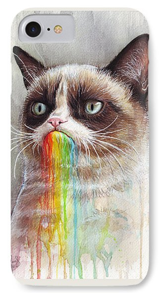 Grumpy Cat Tastes The Rainbow IPhone 7 Case by Olga Shvartsur