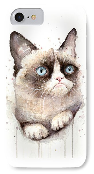 Grumpy Cat Watercolor IPhone Case by Olga Shvartsur
