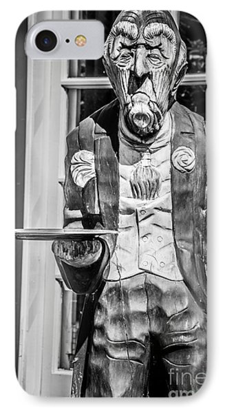 Grumpy Old Waiter Carving Key West - Black And White IPhone Case by Ian Monk