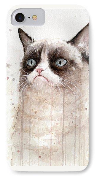 Grumpy Watercolor Cat IPhone Case by Olga Shvartsur