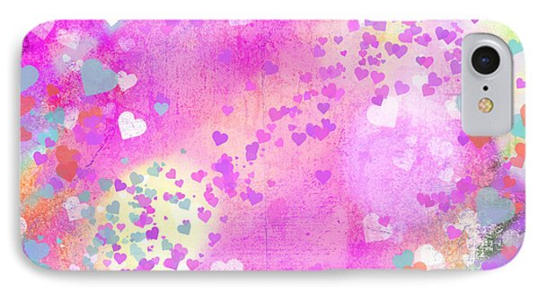 Grunge Hearts Abstract Art I IPhone Case