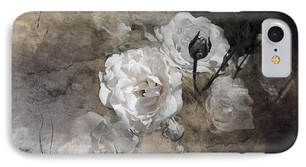Grunge White Rose IPhone Case by Evie Carrier