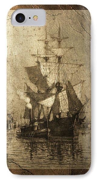 Grungy Historic Seaport Schooner Phone Case by John Stephens