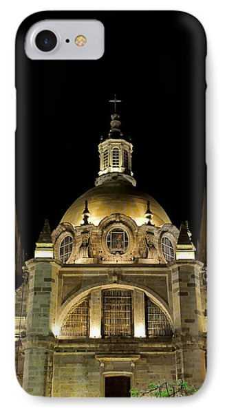 IPhone Case featuring the photograph Guadalajara Cathedral At Night by David Perry Lawrence