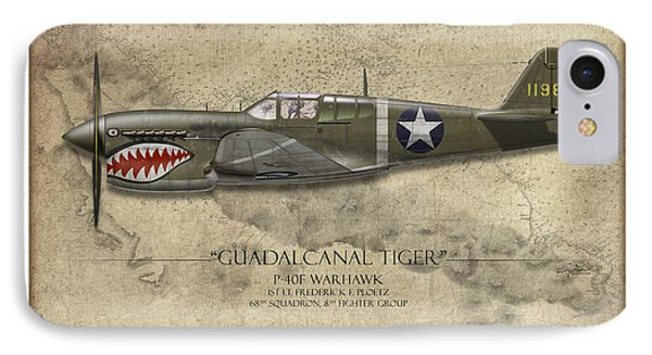 Guadalcanal Tiger P-40 Warhawk - Map Background IPhone Case