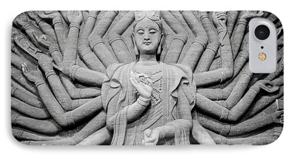 Guanyin Bodhisattva In Black And White IPhone Case by Dean Harte