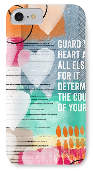 Guard Your Heart- Contemporary Scripture Art Phone Case by Linda Woods