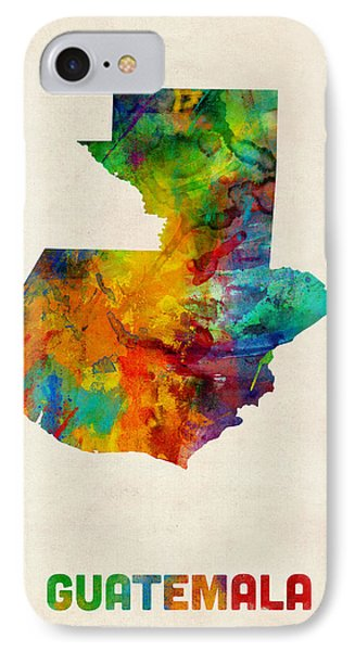 Guatemala Watercolor Map IPhone Case by Michael Tompsett