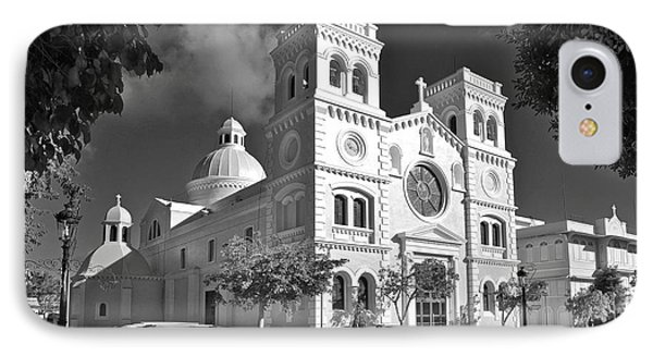 Guayama Church And Plaza B W 1 IPhone Case by Ricardo J Ruiz de Porras