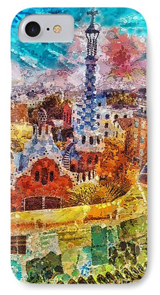 Guell Park IPhone Case by Mo T