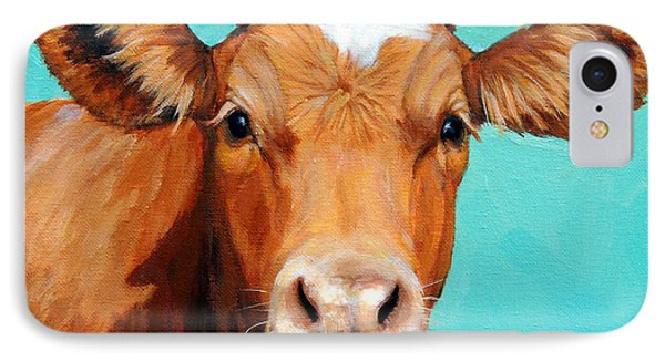 Cow iPhone 7 Case - Guernsey Cow On Light Teal No Horns by Dottie Dracos