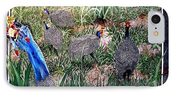 Guinea Fowl In Guinea Grass Phone Case by Sylvie Heasman