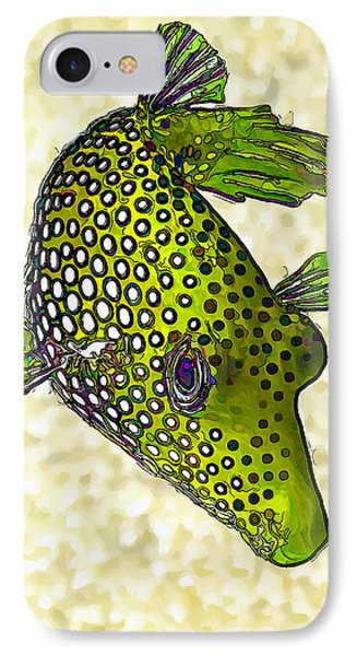 Guinea Fowl Puffer Fish In Green IPhone Case by ABeautifulSky Photography