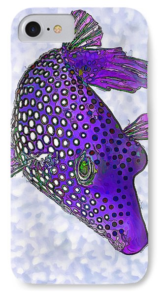 Guinea Fowl Puffer Fish In Purple IPhone Case by ABeautifulSky Photography