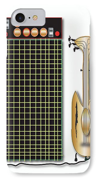 IPhone Case featuring the digital art Guitar And Amp by Marvin Blaine