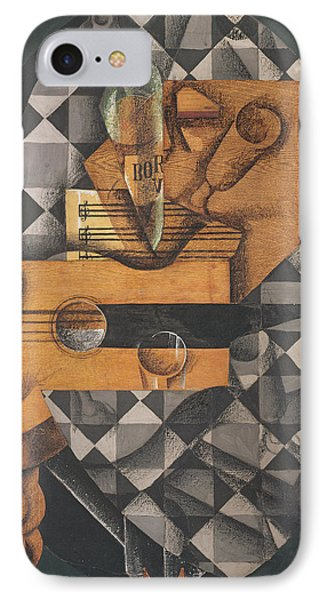 Guitar, Bottle, And Glass, 1914 Pasted Papers, Gouache & Crayon On Canvas IPhone Case by Juan Gris