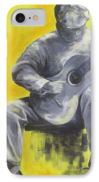 Guitar Man In Shades Of Grey Phone Case by Susan Richardson