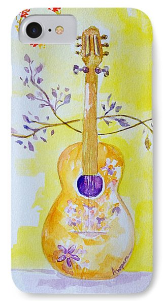 Guitar Of A Flower Girl Live Love Be Happy IPhone Case by Patricia Awapara