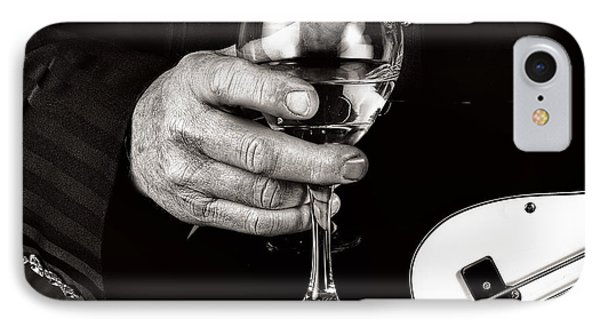 Guitar Player And A Glass Of Wine IPhone Case by James David Phenicie