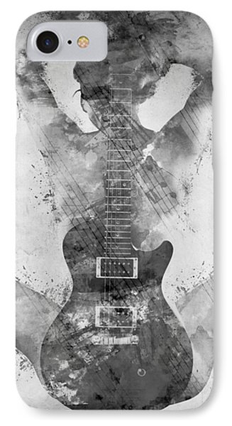 Rock And Roll iPhone 7 Case - Guitar Siren In Black And White by Nikki Smith