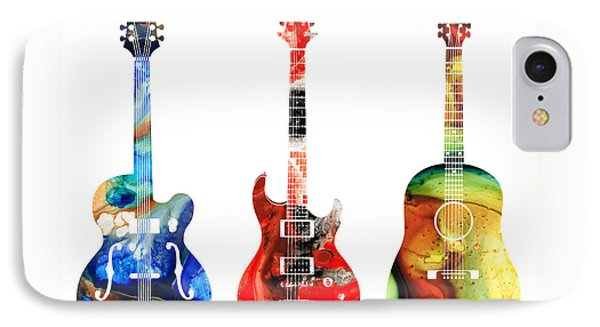 Rock And Roll iPhone 7 Case - Guitar Threesome - Colorful Guitars By Sharon Cummings by Sharon Cummings